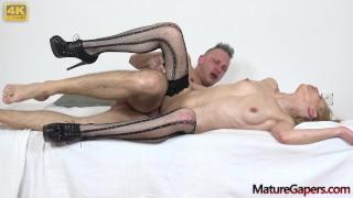 Skinny mature pornstar Gwen Cortez returns to the bussiness