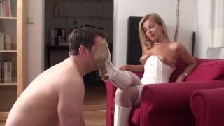 erotic beast bianca train slave bobby lick her white boots