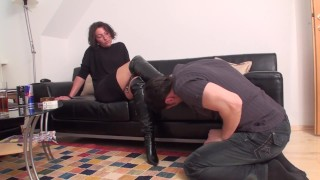 milf mistress train richie lick her boots clean