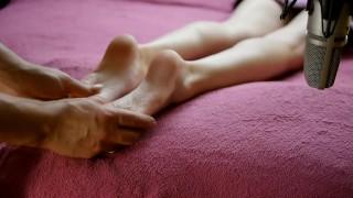 very sensitive asmr- massage of women's legs