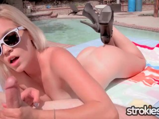 Strokies - Katie Kush Poolside Cock Salute on Independence Day
