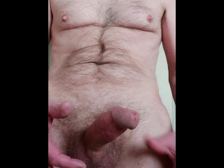 Moaning as I edge my throbbing erect cock and play with the precum