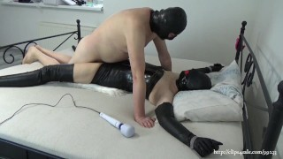 My real bondage sex on February 9, 2021: Hooded leather slavegirl