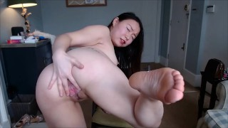 YimingCuriosity - Asian schoolgirl Feet worship, nails and creamy pussy, how is your lockdown life?