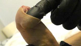 ForeSkin play in Latex Gloves