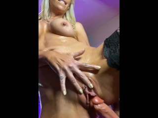 Amazon Blonde Fishnets and Oil Dildo Ride