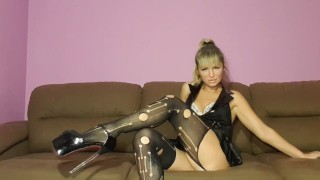 BDSM game with my slave, cum eating instruction