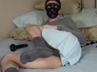 Masked femboy slut plays with anal beads and dildo