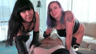 Crazy Homewrecker Cum Drainers Steal Your Cum Sneak Peak Double Gloves Leather and Latex Ondrea Lee