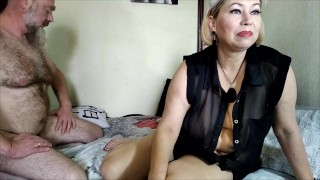 Bearded dad has fun fucking a blonde mom with big natural tits! And Mommy loves to suck daddy's cock
