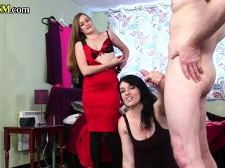 CFNM british babes tease and jerk off submissive