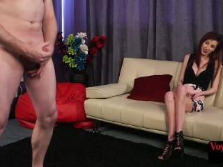 Skinny CFNM voyeur enjoys cock tugging session
