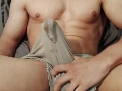 Guy Moaning, Cum Through Underwear (Big cumshot)