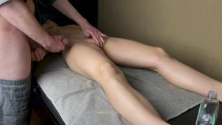 Massage therapist cum on wife's stomach (2/10)