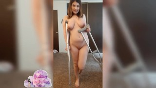 Sexy girl on crutches masturbates and spreads for you