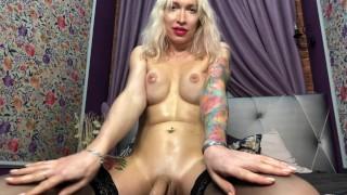 Busty oiled up russian shemale Eva Lynx masturbates with ahegao