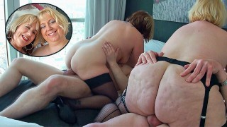 Two British mature blondes have a foursome