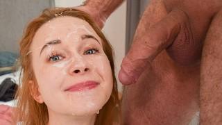 Tiny slut covered in massive load of cum in casting