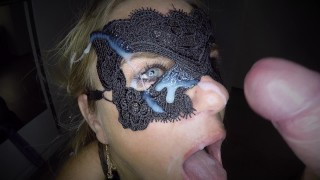 Throat fucking as she fucks herself with a big dildo in her ass and gives her an facial