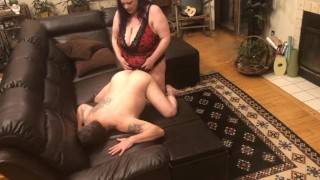 Hubby face down ass up taking a good hard pegging