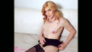 Kacy TGirl Topless on Casting Couch