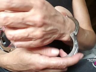 my big xxl pierced nipples bound together with handcuffs