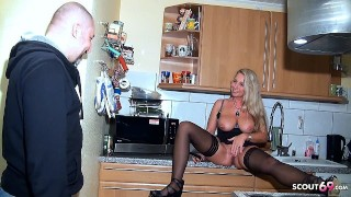 Creampie Drip after caught and Fuck German Mature Jenny