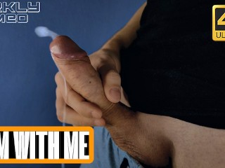 Horny guy wanking big dick moaning from orgasm ASMR, huge load - Darkly Dimeo - 4 K