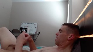 Two handed jerkoff Fully Naked with Messy Cumshot