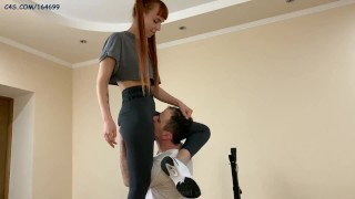 Pussy Worship in Yoga Pants by Pigtailed Stepsister Kira and Her Subby Stepbrother