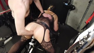 Norwegian milf flight attendant squirting and cumming loud while fisted