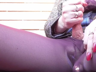 Sissy in Tights Have Multiple Orgasm in Public