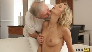 OLD4K Old man worships pussy before shoving boner into it