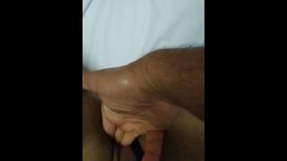 Hot half Japonese Filipina Asian Cougar MILF Masturbating Dom Eros on an Amateur Handjob Shooting