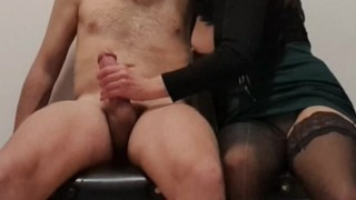 Step mother doing handjob ending Swallow all sperm in her mouth