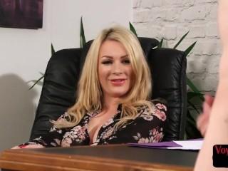 Voyeuristic office femdom teases wanking sub