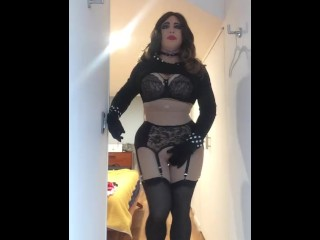 Mrs R Boudoir Visit (trans, feminization, female mask, mask, crossdress, transformation, BBW)