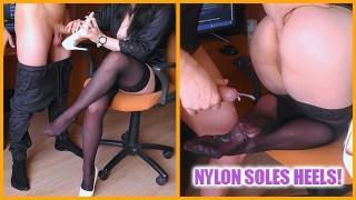 Secretary jerk cock on nylon legs and shoes, Guy cum on nylon soles - 3WetHoles