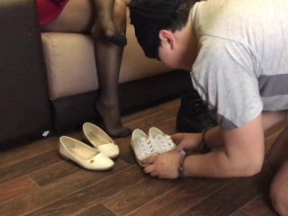 Slave lick shoes dirty best moment part 1 Shoes Worship foot fetish feet FEMDOM