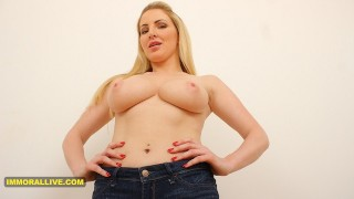 Massive Boobs Ginger Georgie Lyall vs Dinosaur Cock! Who Will Tap Out First?