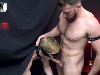 Leather daddy fucks smooth blindfolded guy's face hard