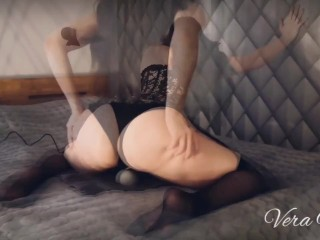 Teaser Vera Mill speaking in Russian wearing sexy corset black stockings using vibro toy Roxy