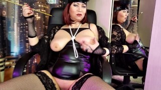 Mature lustful Russian whore recites classic poems, with her legs spread wide, naked pussy and tits