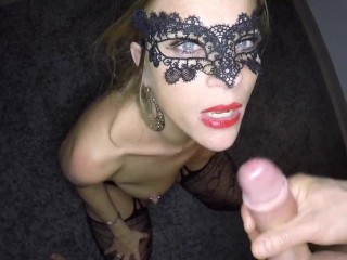 Dutch masked blonde girl fucked in both holes and receives hot load on her tongue