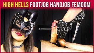 High Hells with Black Stockings – Femdom Footjob and Cum on Feet   Era