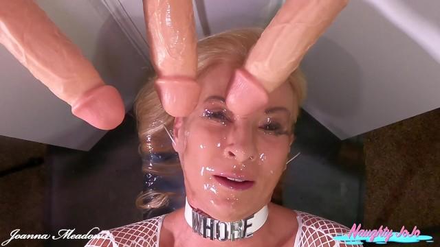 Dildo Mega Bukkake-3 Squriting Dildos & Fucking Machine- Joanna Meadows - NaughtyJoJo - Cum Facial
