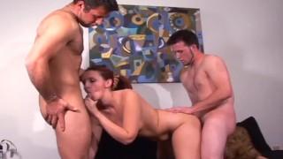 Amateur friends spitroast brunette babe in wild threesome