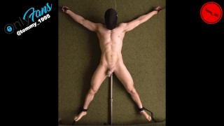 Edging in Chastity while Tied Down - Prostate Vibrator - Straight Guy Anal Probe --OF @tommy_1995