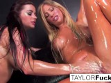 Sexy lesbians use glitter baby oil