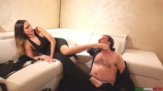 Handjob Mistress Submits Slave Stockings Smelling Foot Sniffing Foot Worship FemDom French Kiss